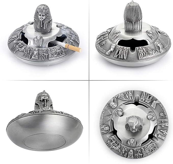 HERCHR Cendrier /él/éphant Vintage avec Couvercle pour cendrier /à Fumer en Alliage de Zinc /à lint/érieur /à lext/érieur Couleur Blanc Or