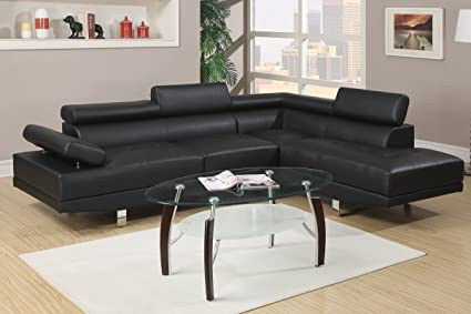 Modern Black Faux Leather Sectional