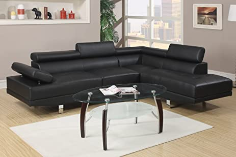 Modern Black Faux Leather Sectional : pleather sectional - Sectionals, Sofas & Couches