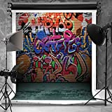 Kate 5x6.5ft(1.5x2m) Hip Hop Photography Backdrops for Photographers Microfiber Teenager Fashion Wall Naughty Style Graffiti Photo Backdrop for Children