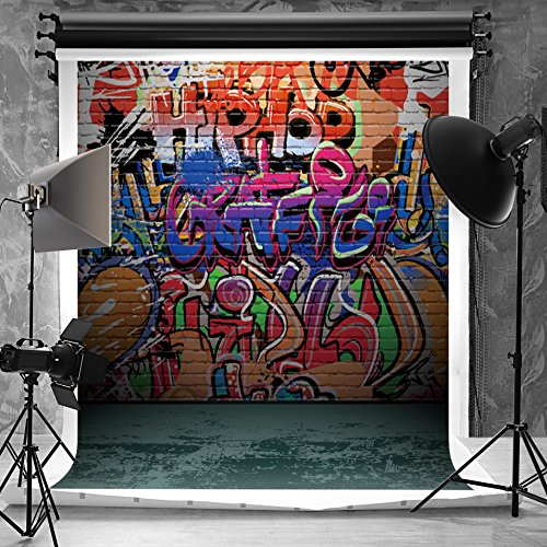 Kate 5x6.5ft(1.5x2m) Hip Hop Photography Backdrops for Photographers Microfiber Teenager Fashion Wall Naughty Style Graffiti Photo Backdrop for (Hip Hop Backdrop)