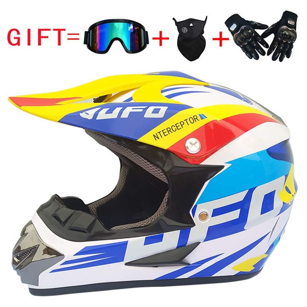 Dirt Bike Motocross ATV Caschi Integrali con Occhiali Maschera per Guanti per Uomo E Donna per Adulti E Giovani Casco Moto Fuoristrada per Bambini E Ragazzi