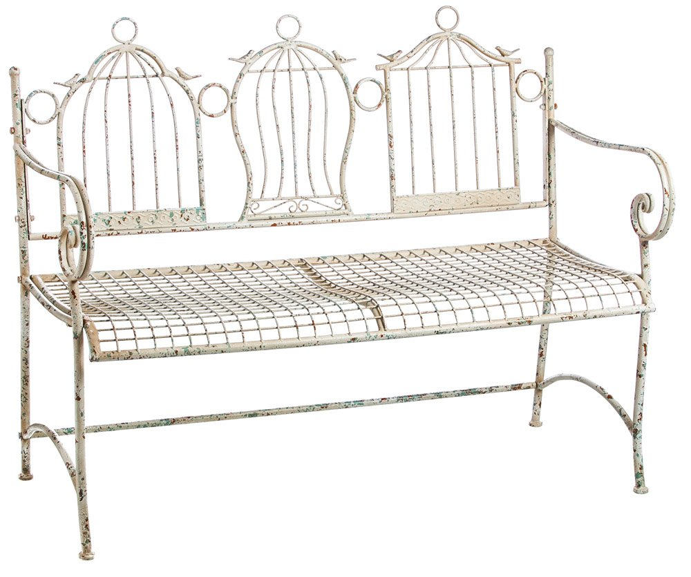 Gifted Living Birdcages Metal Garden Bench, Antique White