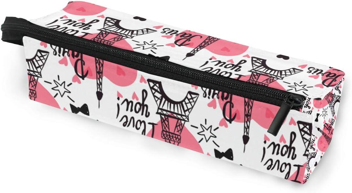 Estuche para gafas de sol portátil con diseño de torre Eiffel de tinta negra, caja suave para mujeres y niñas, bolsa de almacenamiento con cierre de cremallera, diseño de corazón rosa: Amazon.es:
