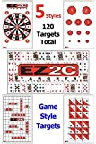 """120-Pack Gun And Rifle Paper Targets For Shooting by EZ2C ~ Highly Visible and Bright Game Targets ~ For Shooting Range or Outdoor Use ~ Fun Shooting Games at the Range ~ 11"""" x 17"""""""