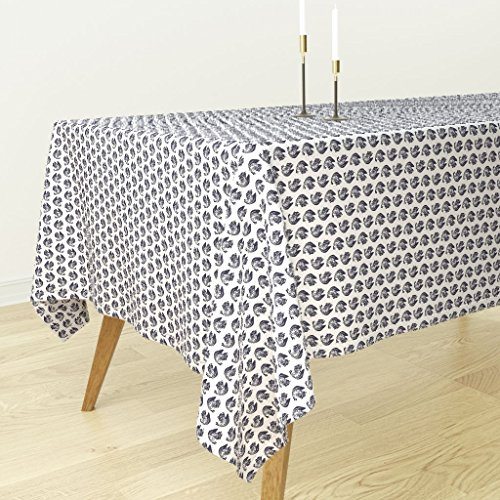 (Roostery Tablecloth - Navy White Squirrel Chipmunk Woodland Creature Animal by Katebillingsley - Cotton Sateen Tablecloth 70 x 120)