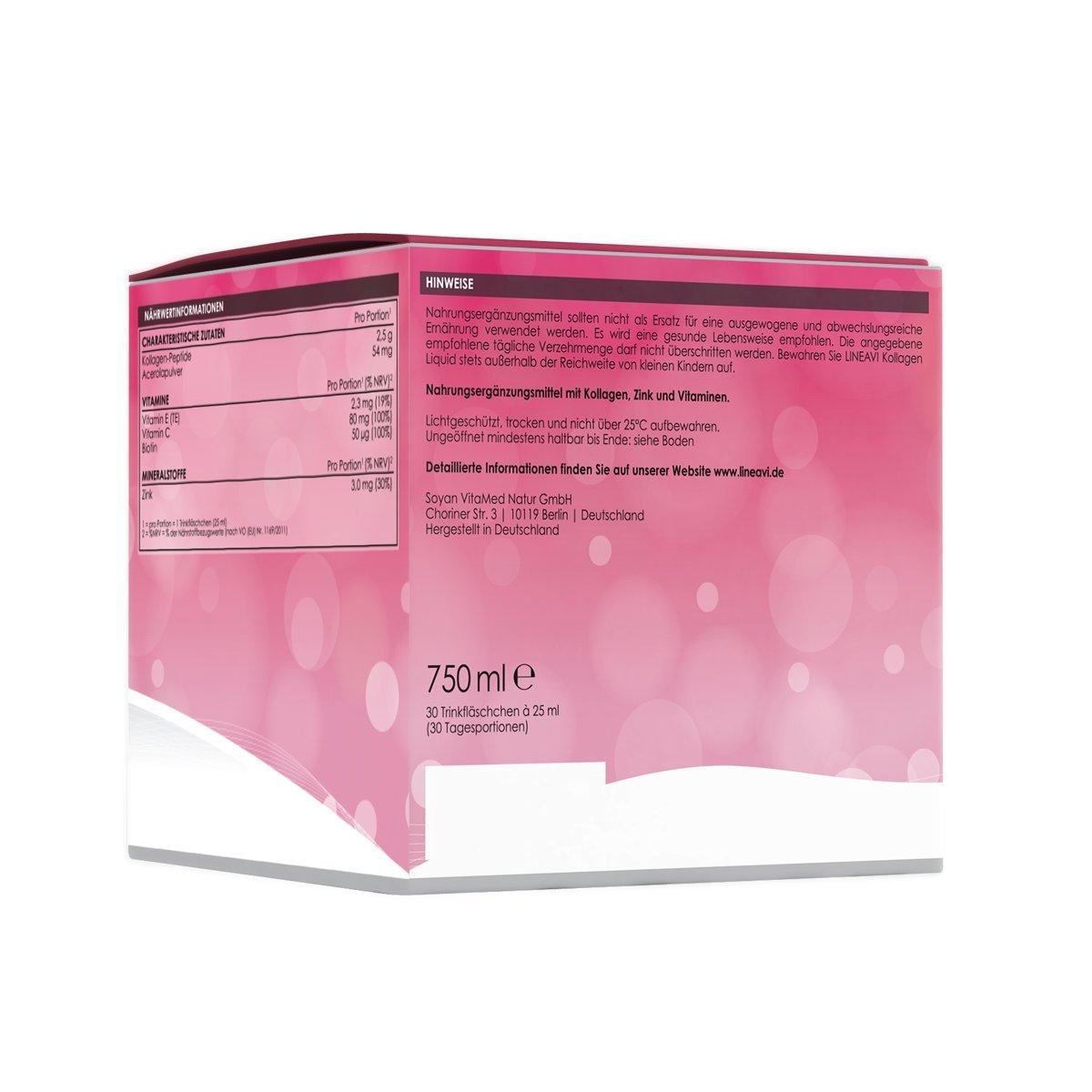 Colágeno líquido LINEAVI | Colágeno para beber | con péptidos de colágeno, acerola, zinc, vitamina C, vitamina E, biotina | mejora la piel, el cabello y las ...