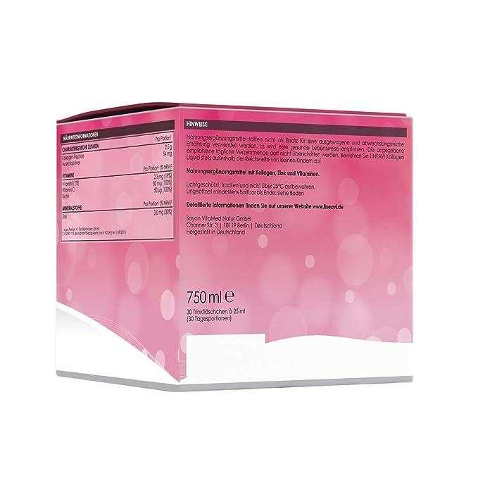 LINEAVI Colágeno Líquido, colágeno para beber, con péptidos de colágeno, acerola, zinc, vitamina C, vitamina E y biotina, mejora la piel, el cabello y ...