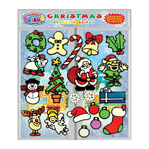 Christmas Window Gel Stickers - Christmas Holiday Gel Clings for Kids & Toddlers - 21 Piece Xmas Window and Wall Clings - Reusable and Removable Thick Strong Vinyl Gels - Santa, Rudolph, Stocking, Candy Cane, Snowman and More!
