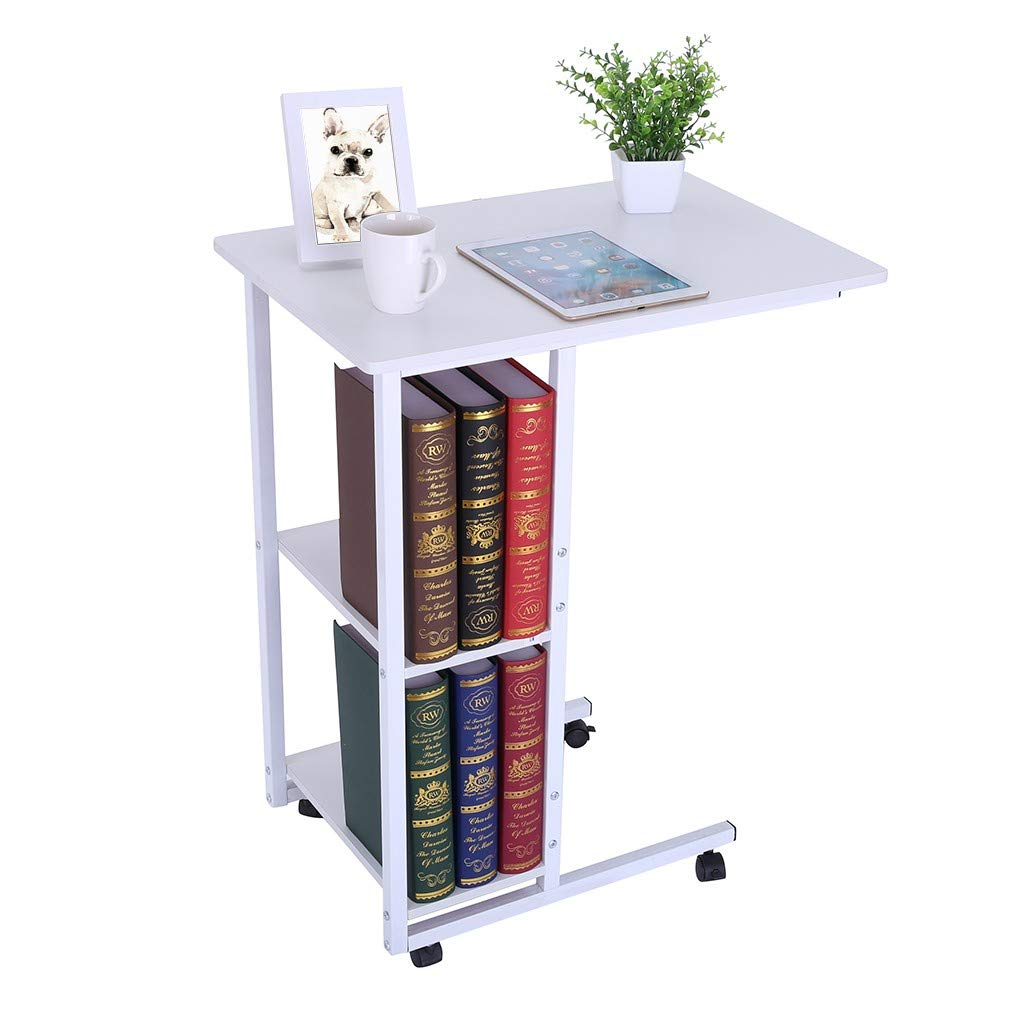 Home Office Thicken Steel Pipe Laptop Writing Desk with High Quality Silent Wheels, Rustic Solid Wood Classic Saving Space Double Level Computer Side Table (White, 23.6'' x 15.7'' x 29.5'') by Swiusd