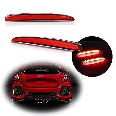 TurningMax Full LED Red Lens Rear Bumper Light Tail Brake Rear Fog Lamp Reflector Lights for 2020-up Honda Civic Hatchback, Type-R or SI 4-Door Sedan: Automotive [5Bkhe1006011]