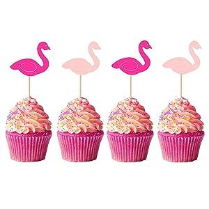 50Pcs Flamingo Cupcake Toppers Cake Decorations Food Picks Cocktail Picks for Theme Luau Hawaiian Birthday Wedding Summer Party Supplies