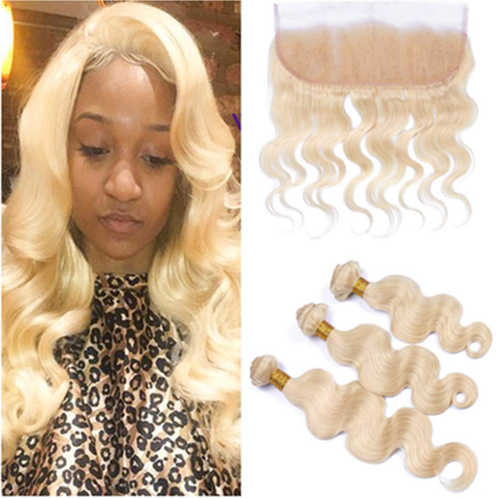 #613 Blonde Hair Bundles with Frontal Russian Bleach Blonde Body Wave Human Hair 3 Bundles with Full Frontal Lace Closure 13x4 Wavy Pure 613 Blonde Weave Wefts with Frontal (12 14 16 with 12) 61NgckEf1TL