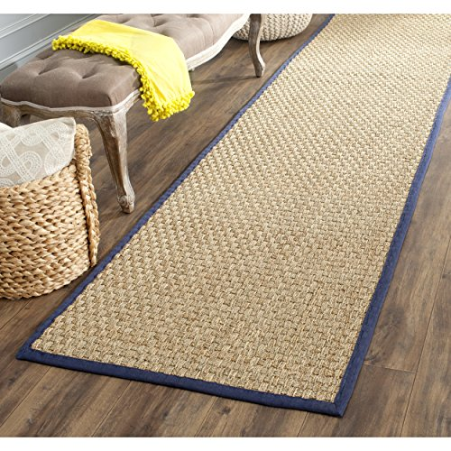 Safavieh Natural Fiber Collection NF114E Basketweave Natural and  Blue Seagrass Runner (2'6