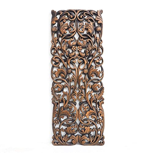 Amazon Com Thai Traditional Carved Teak Wooden Wall Art Panel