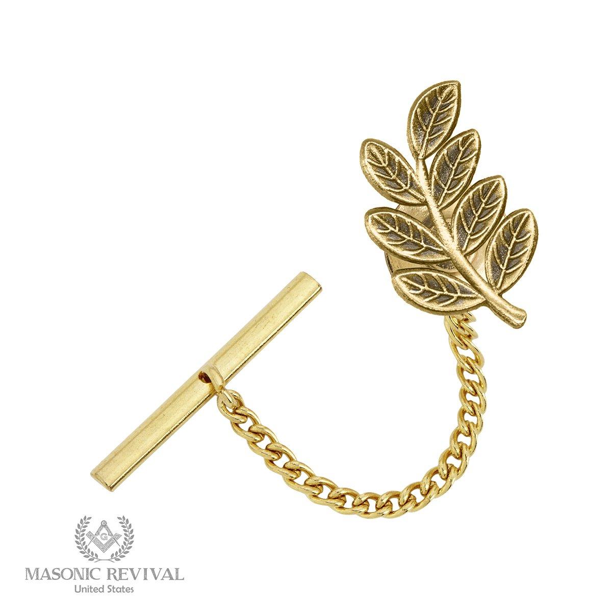 Sprig of Acacia Tie Pin Tack by Masonic Revival (Antique Gold) Bro. Edgar Alejandro 17MTT011
