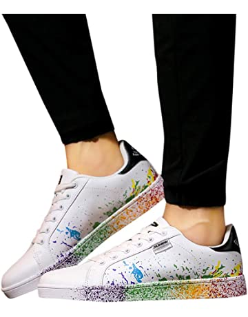 eced09e0e2f0 ℱLOVESOOℱ Women s White Shoes Colorful White Shoes Sports Shoes Running  Shoes Unisex Shoes Lovers Shoes Fashion