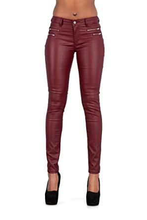 8fe01245d8b1d1 Lusty Chic Women's PU Leather Look Pants with Zips Sexy Skinny Leggings (US  2,