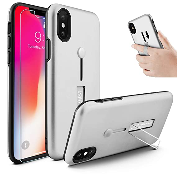 the best attitude 293c9 f350d iPhone Xs Max Case, Owrora Finger Strap Case Finger Ring Band with  Kickstand Case[with Tempered Glass Screen Protector] Rugged Case for iPhone  Xs Max ...