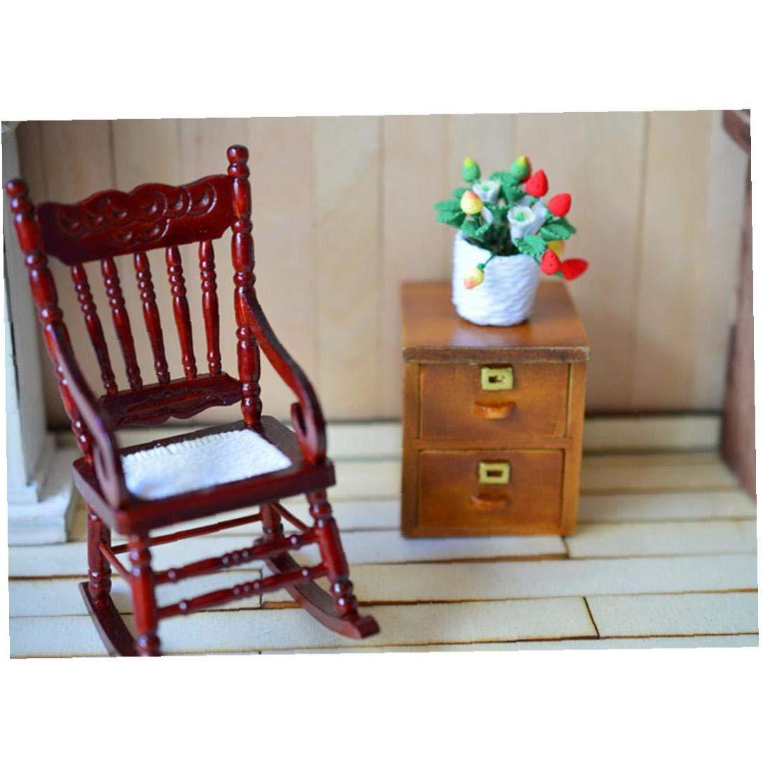 1//12 Casa De Mu/ñecas En Miniatura De Madera Modelo Mecedora Lindo Muebles Juguete-Brown