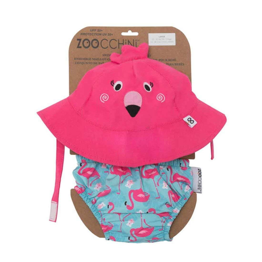 ZOOCCHINI UPF 50+ Baby Sun Hat & Swim Diaper Set - Franny The Flamingo, 6-12M, Polyester, Chlorine & Water Resistant, BPA-Free by ZOOCCHINI