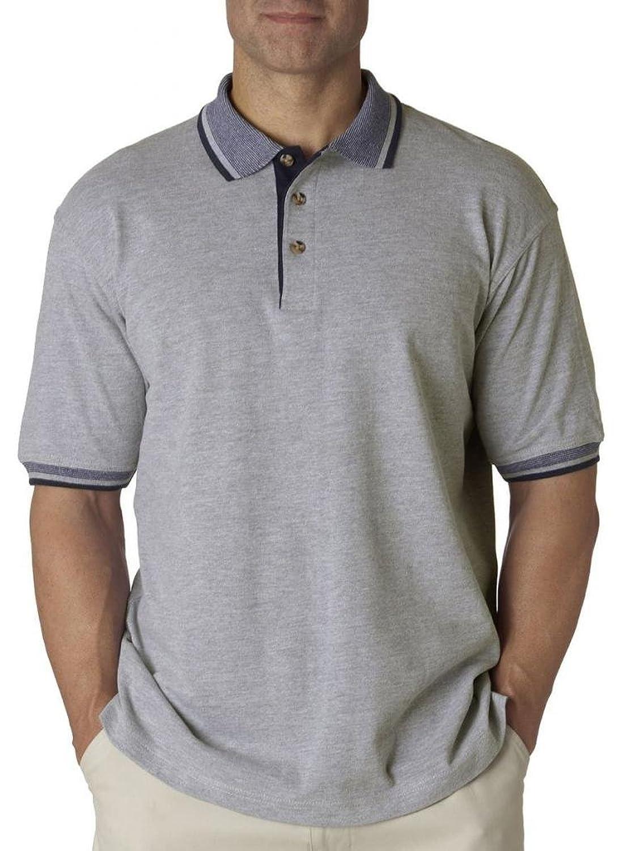 UltraClub Men's Striped Collar Polo Shirt