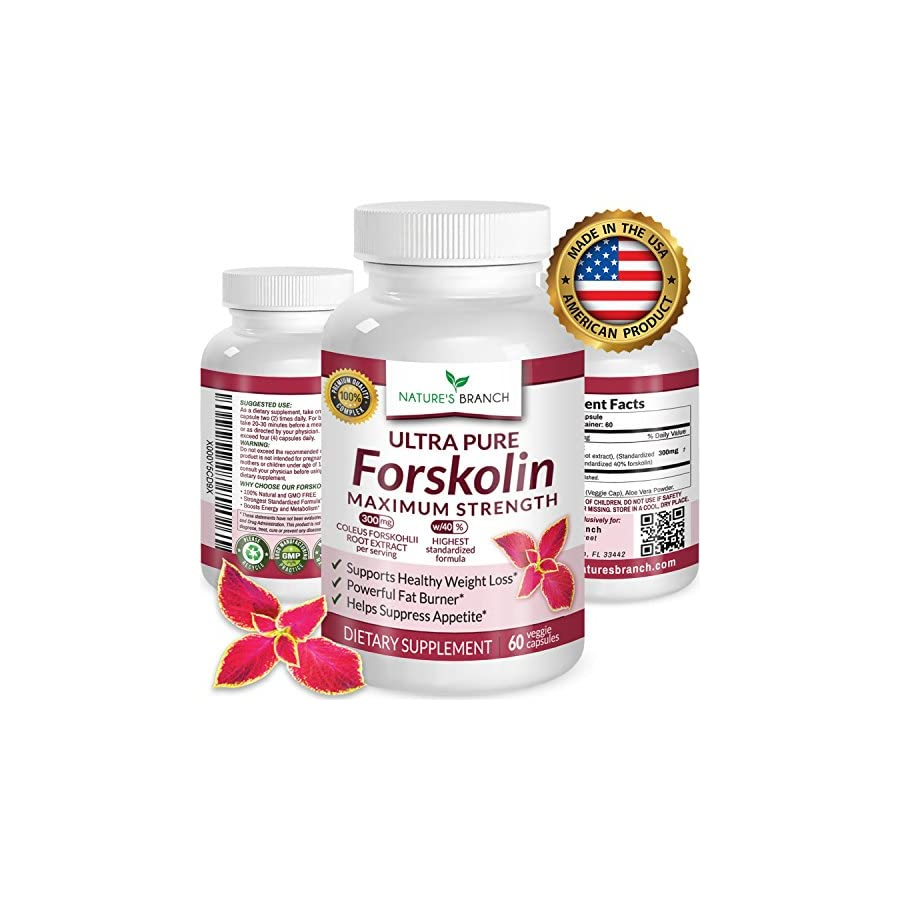 JANUARY SPECIAL ★ Premium 100% ULTRA PURE Forskolin Extract For Weight Loss MAX STRENGTH w/ 40% Standardized Appetite Suppressant Fat Burner Supplement Coleus Root Belly Fuel 60 Diet Pills