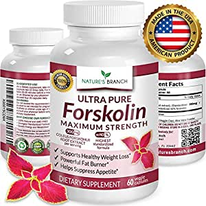 ★ PREMIUM 100% ULTRA PURE Forskolin Extract For Weight Loss MAXIMUM STRENGTH w/ 40% Standardized Appetite Suppressant Fat Burner Supplement Belly Buster Fuel Coleus Root Extract 60 Diet Pills
