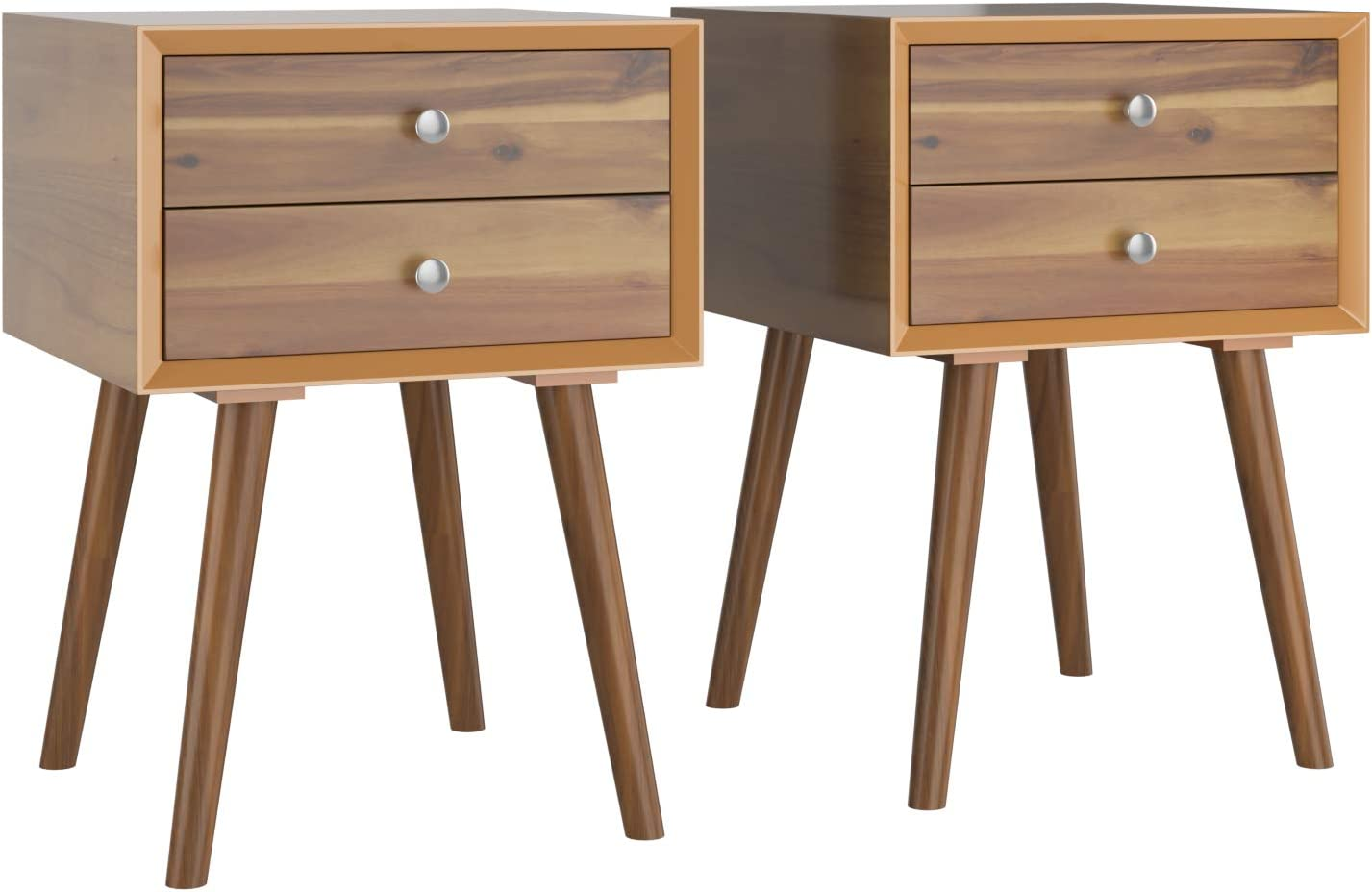 Giantex End Table W/Drawers and Storage Wooden Mid-Century Accent Side Table Multipurpose for Bedroom, Living Room Home Furniture Nightstand (2, Walnut)