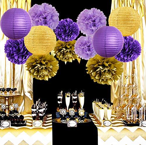Purple And Gold Party Decorations (Furuix Purple Gold Party Decorations Glitter Gold/Purple Paper Lanterns Tissue Paper Pom Poms Purple Birthay/Baby Shower/Bridal Shower/Wedding)