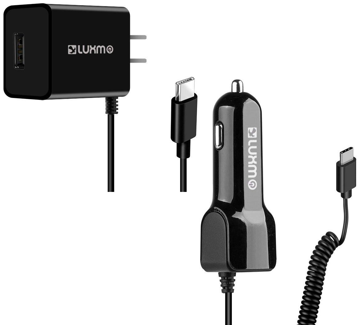 LG v20 USB C高電源車とホーム充電器パックwith Extra USBポートブラック B0799172F2