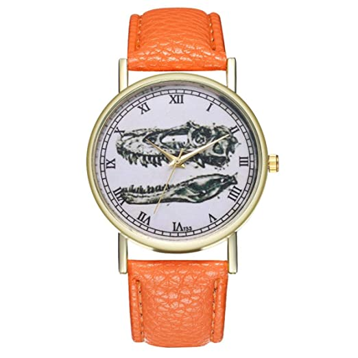 2018 Joven Hombre Mujer Reloj Banda de Cuero Cuarzo Números árabes Reloj de Pulsera Fresco Dinosaurio