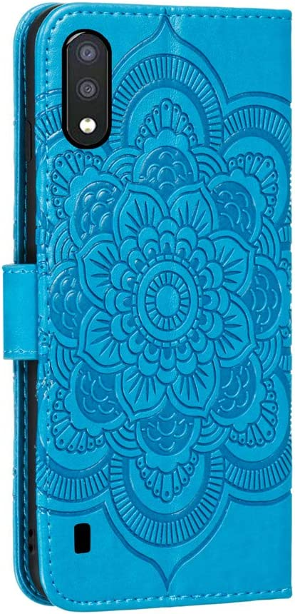 COTDINFOR Samsung Galaxy A01 Coque Svelte PU Leather pour Les Filles Elegant Retro Lucky Flowers Shockproof avec b/équille Protecteur Mince /Étui pour Galaxy A01 Blue Mandala LD.