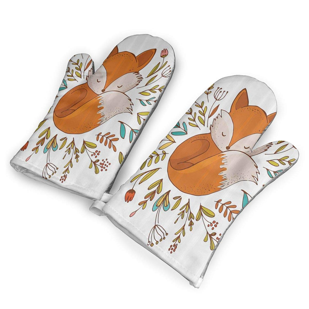 QOQD Cute Baby Fox Sleeping in A Floral Made Bed Circle Art Print Oven Mitts with Polyester Fabric Printed Pattern,1 Pair of Heat Resistant Oven Gloves for Cooking,Grilling,Barbecue Potholders