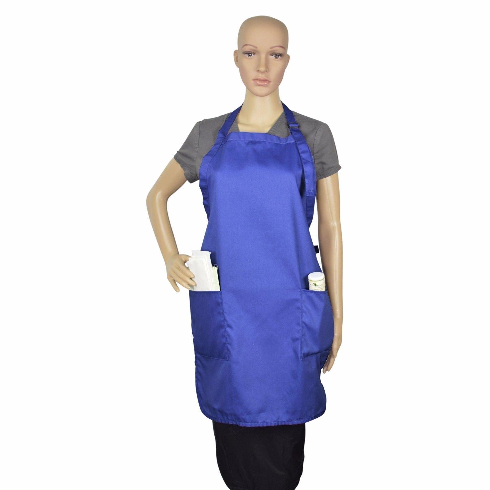 Apron Bib Commercial Restaurant Home Bib Spun Poly Cotton Kitchen Aprons (2 Pockets) (36, Royal)