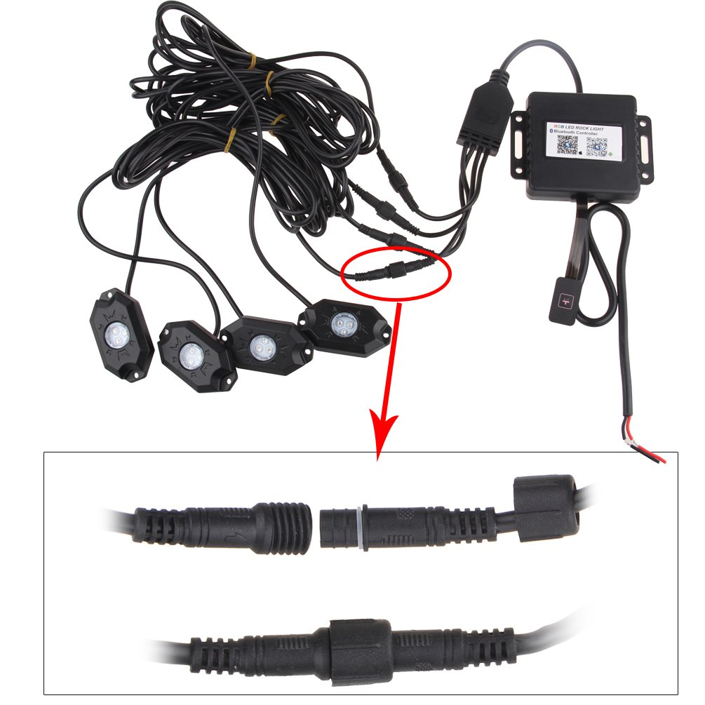 RGB LED Rock Light Kits with Phone App Control /& Cell Phone Control /& Timing /& Music Mode /& Flashing /& Automatic Control /& Color Grad Multicolor Neon Lights Under Off Road Truck SUV ATV