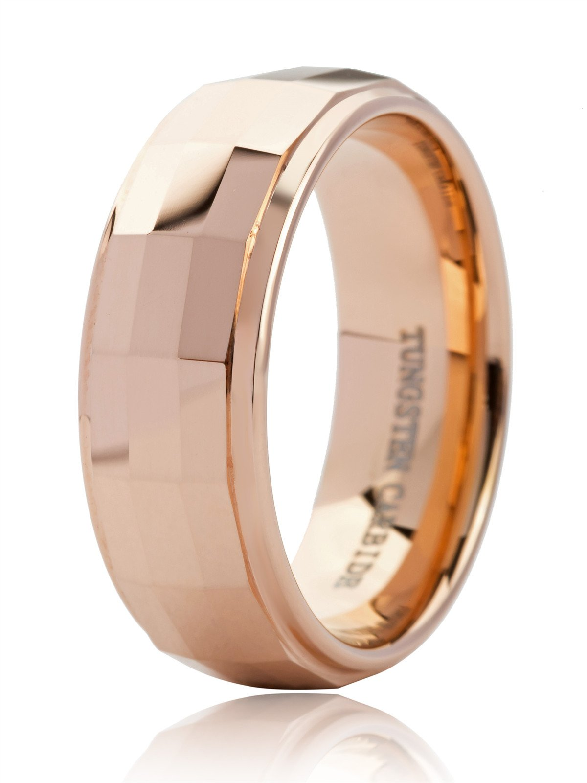 Just Lsy Gentleman 8mm Tungsten Carbide Wedding Band Ring For Men Multi Faceted Cut 18K Rose Gold Comfort Fit Size 11.5