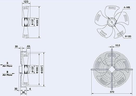 Ventilador Extractor Axial Airtech del soplador para uso Industrial comercial 4pole-B 350 mm