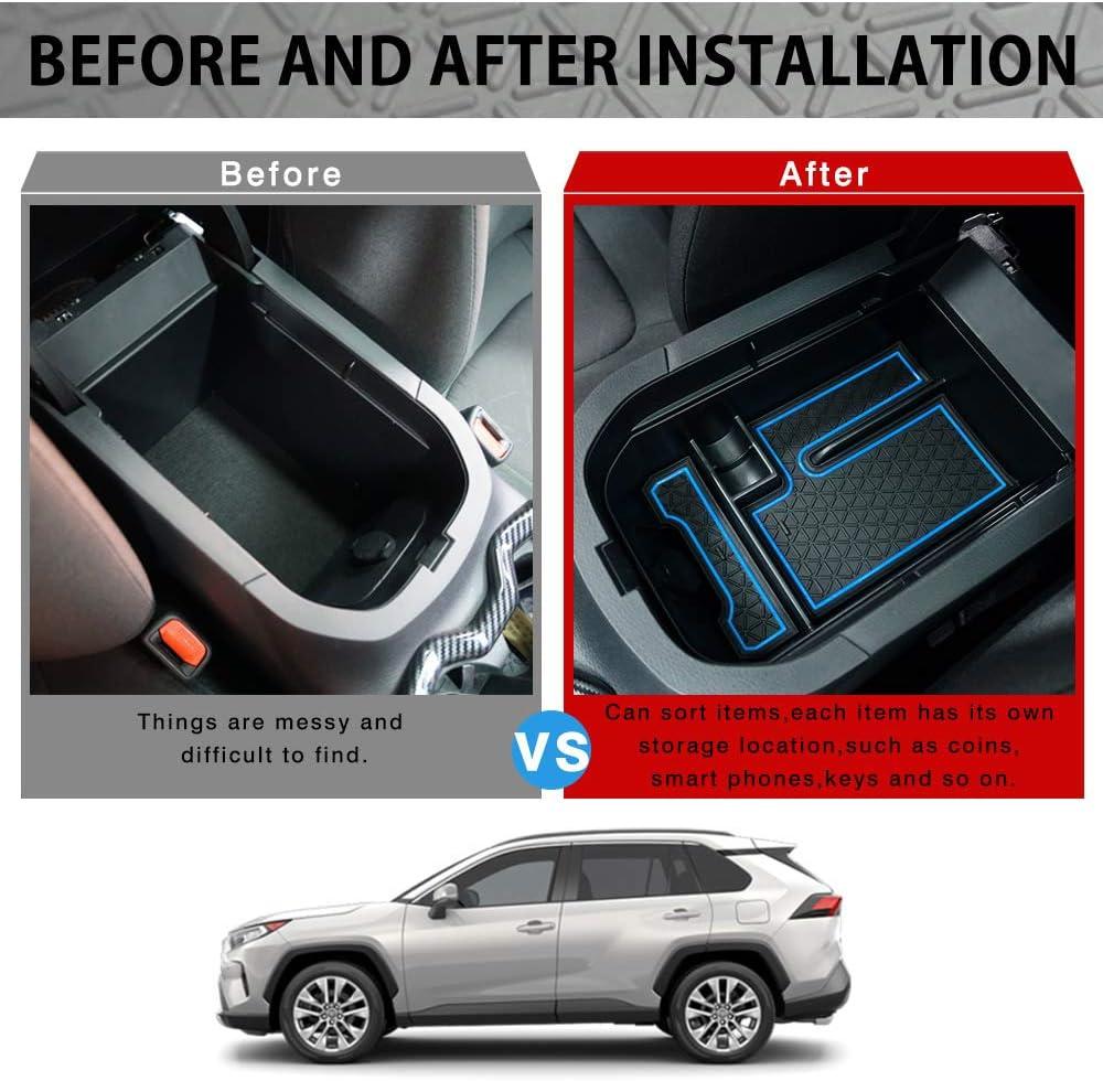 1x Black ABS Center Console Storage Tray Cushion Kit For Toyota RAV4 2019 2020