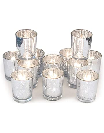 0ce5c2023e Volens Gold Votive Candle Holders, Mercury Glass Tealight Candle Holder Set  of 12, 2.67