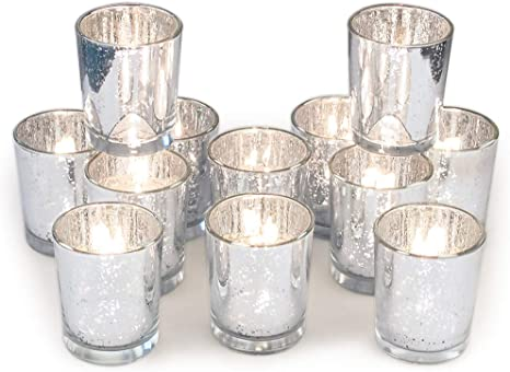 Volens Silver Votive Candle Holders Mercury Glass Tealight Candle Holder Set Of 12 Kitchen Dining