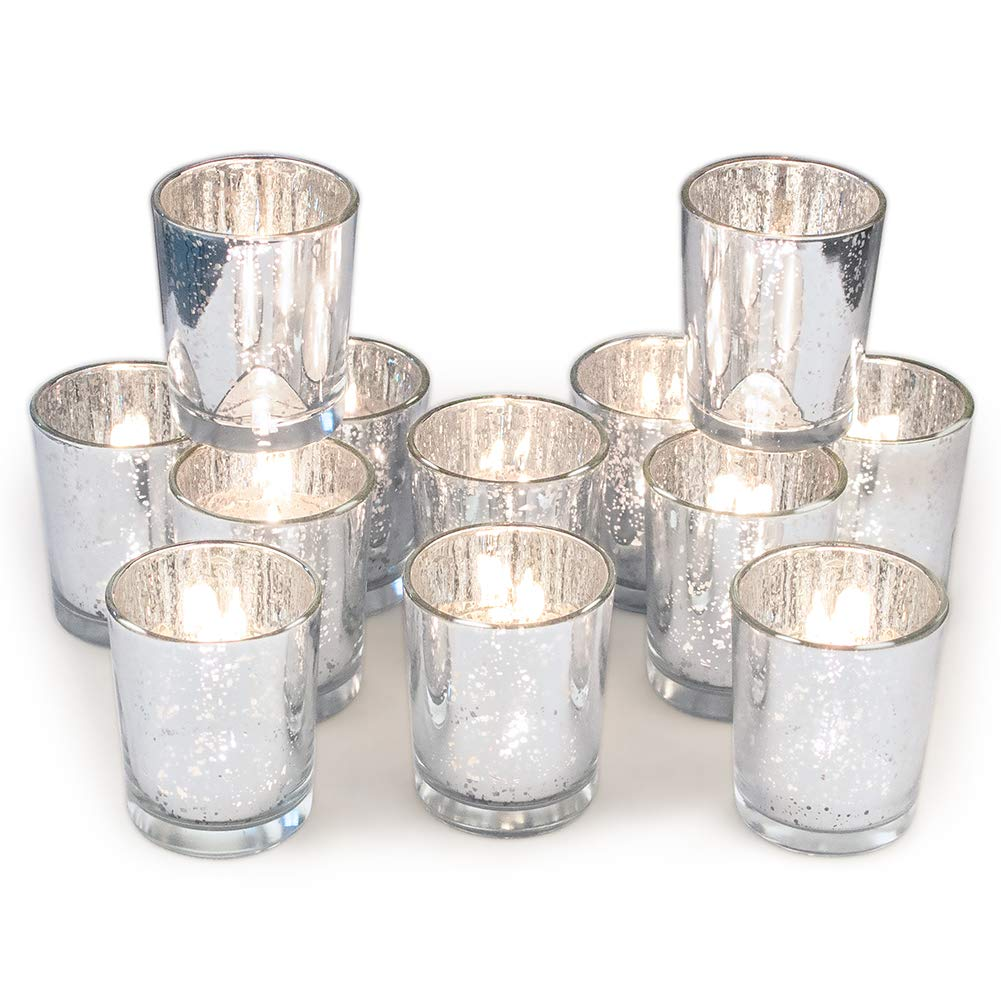Set of 12 mercury glass votive candle holders