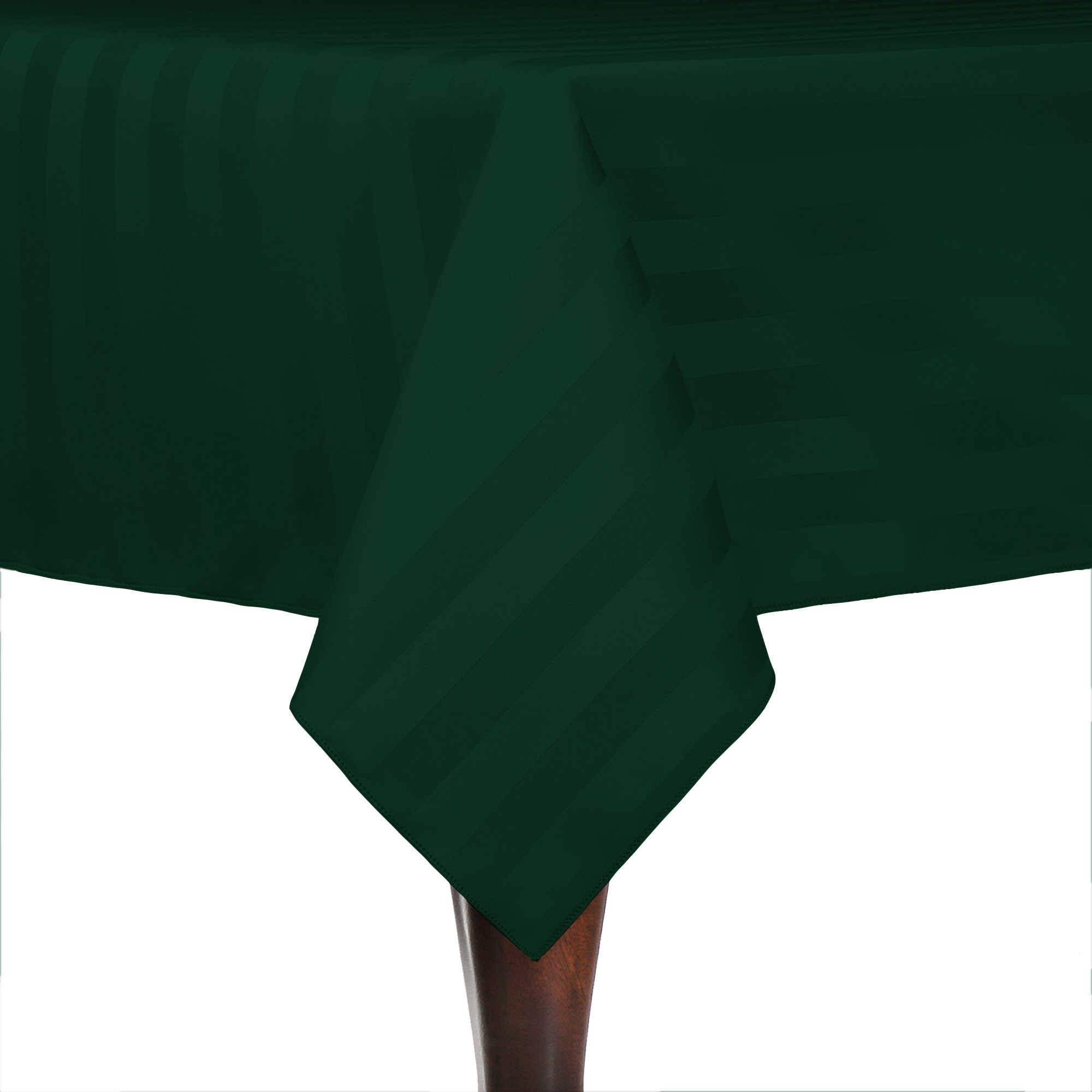 Ultimate Textile -2 Pack- Satin-Stripe 60 x 90-Inch Rectangular Tablecloth - for Wedding and Catering, Hotel or Home Dining use, Forest Green
