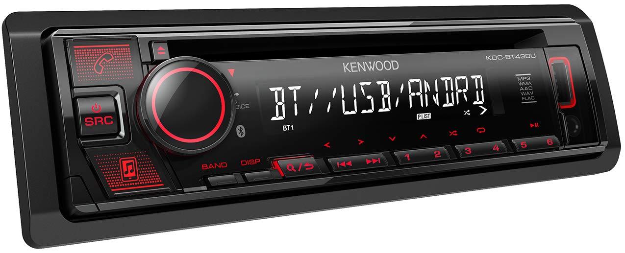 Kenwood KDC-BT430U CD-Autoradio mit Bluetooth Freisprecheinrichtung (Hochleistungstuner, Soundprozessor, USB, Android- & Spotify Control, 4x50 Watt, Rot) Schwarz