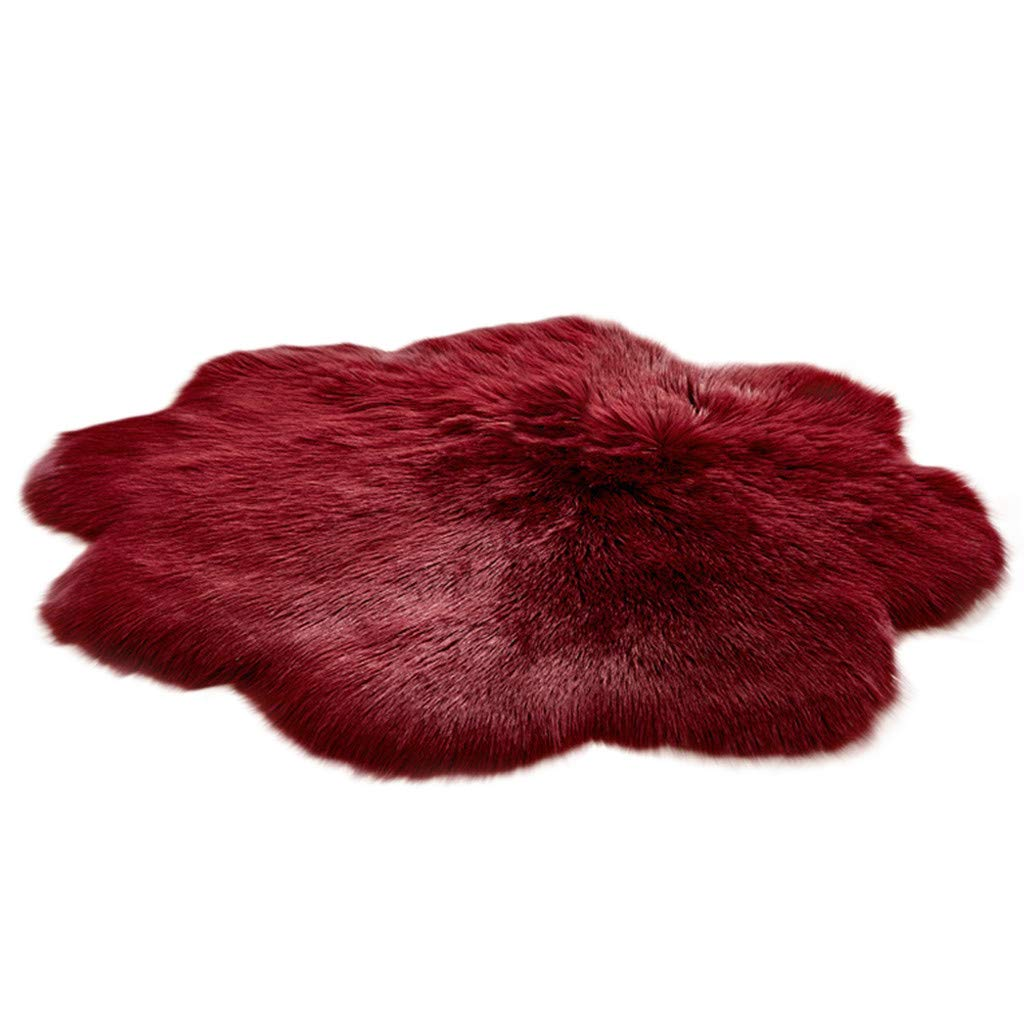 Rugs Non Slip Mats Hairy Soft Fluffy Faux Fur Carpet Mat Home Living Bedroom Floor Decor (Red, Free Size)