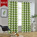 Melodieux Chevron Room Darkening Blackout Grommet Top Curtains, 52 by 96 Inch, Green (1 Panel) Review