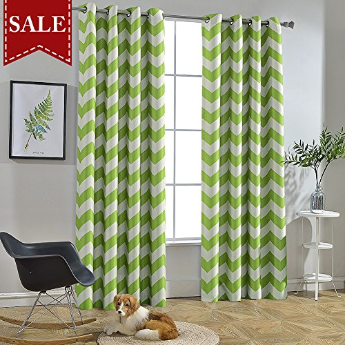 Melodieux Chevron Room Darkening Blackout Grommet Top Curtains, 52 by 96 Inch, Green (1 Panel)