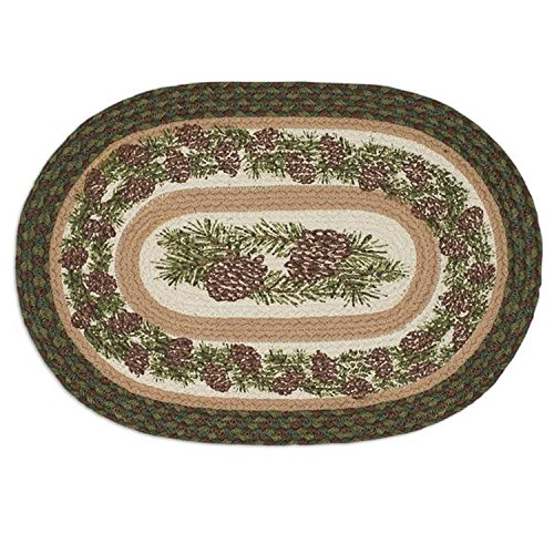 Design Imports Mountain Pine Cotton Table Linens, Braided Jute Placemat 13-Inch by 19-Inch, - Pinecone Desk