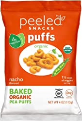 Peeled Snacks Organic Puffs, Nacho, 4 Ounce