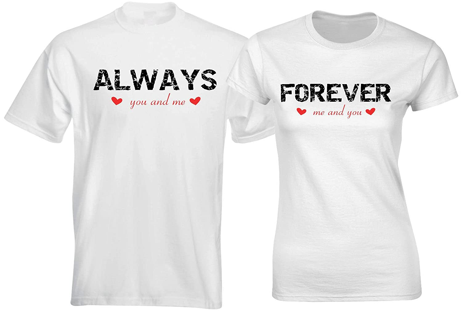 aa7fdffbd9 Matching Couple T Shirts Always Forever Me You His & Her Couples Clothes  Outfits: Amazon.co.uk: Clothing